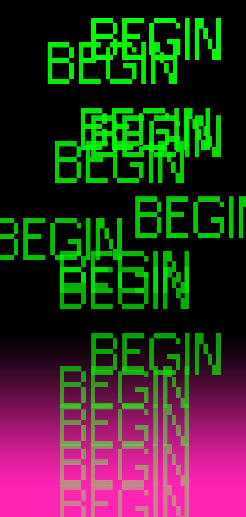 the word begin repeating atop black pink gradient